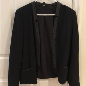 Blazer with leather trim